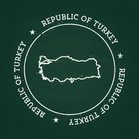 White chalk texture rubber seal with Republic of Turkey map on a green blackboard. Grunge rubber seal with country outlines, vector illustration. Vettoriali