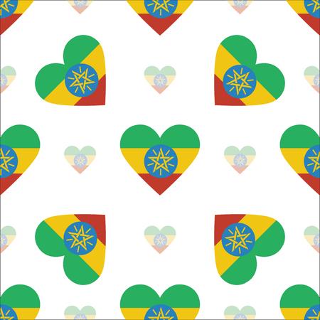 ethiopie drapeau coeur seamless pattern. drapeau patriotique de l & # 39 ; ethiopie . nom de drapeau en forme de coeur vecteur de fond. élément de fond Vecteurs