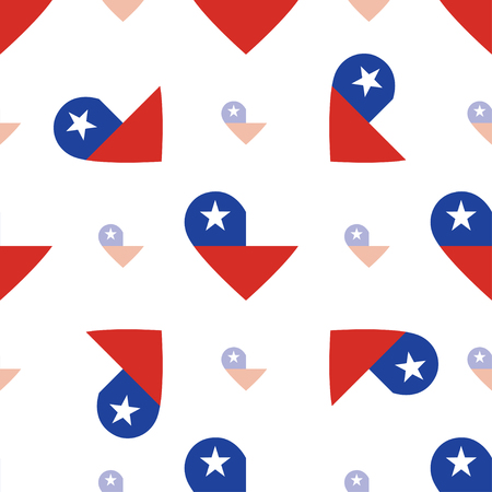 Chile flag patriotic seamless pattern. National flag in the shape of heart. Vector illustration.