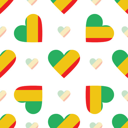 Republic of the Congo flag patriotic seamless pattern. National flag in the shape of heart. Vector illustration.