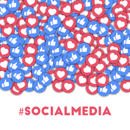 #socialmedia. Social media icons in abstract shape background with scattered thumbs up and hearts. #socialmedia concept in splendid vector illustration.