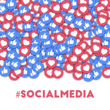 #des médias sociaux. Icônes de médias sociaux en arrière-plan de forme abstraite avec pouces épars et coeurs. #socialmedia concept dans une splendide illustration vectorielle.