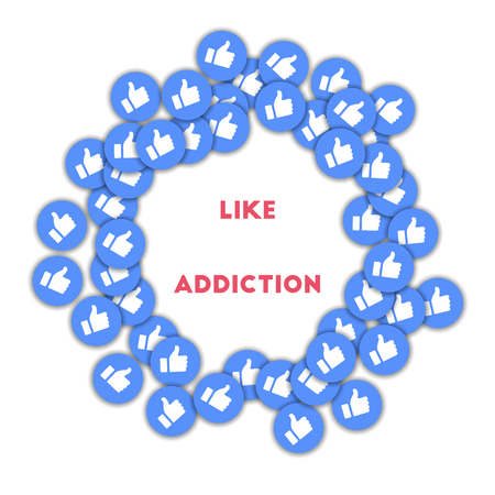 Like addiction. Social media icons in abstract shape background with scattered thumbs up. Like addiction concept in mind-blowing vector illustration.
