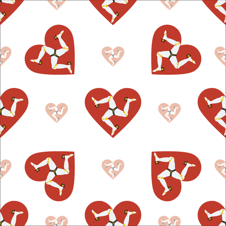 Isle of Man flag patriotic seamless pattern. National flag in the shape of heart. Vector illustration. Illustration