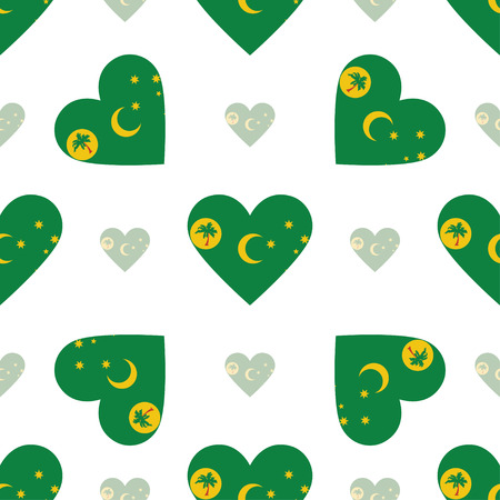 Cocos (Keeling) Islands flag patriotic seamless pattern. National flag in the shape of heart. Vector illustration.