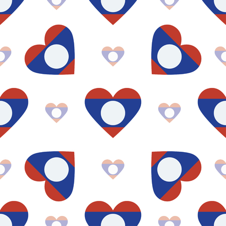 Lao Peoples Democratic Republic flag patriotic seamless pattern. National flag in the shape of heart. Vector illustration.