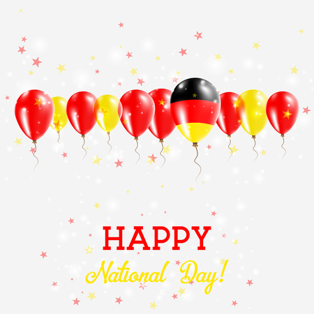 Germany Independence Day Sparkling Patriotic Poster. Happy Independence Day Card with Germany Flags, Confetti, Stars, Bokeh and Glitter.