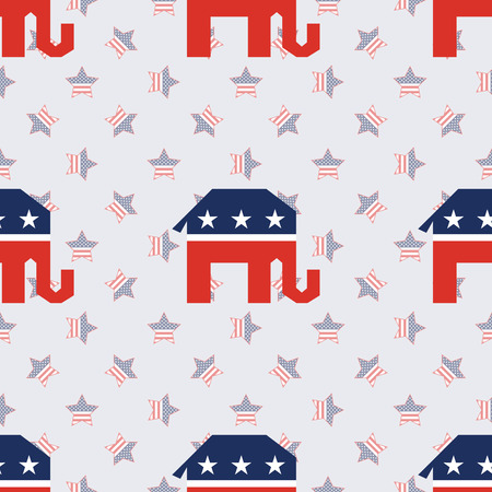 Broken elephants seamless pattern on american stars background. USA presidential elections patriotic wallpaper. Tillable pattern vector illustration.