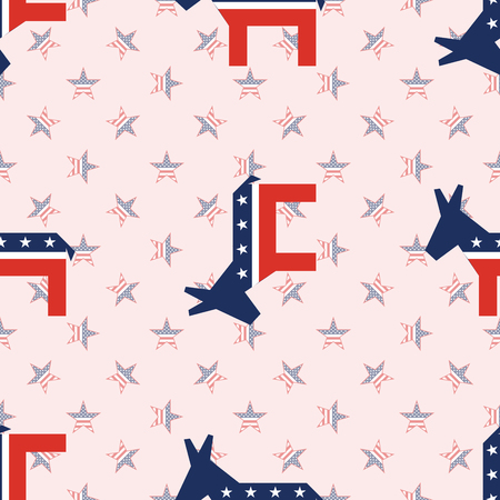 Broken donkeys seamless pattern on national stars background. USA presidential elections patriotic wallpaper. Wallpaper pattern vector illustration. Ilustração