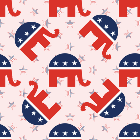 Elephants seamless pattern on national stars background. USA presidential elections patriotic wallpaper. Tiling pattern vector illustration.