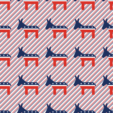 Broken democrat donkeys seamless pattern on red and blue stripes background. USA presidential elections patriotic wallpaper with broken democrat donkeys. Continuous pattern vector illustration.