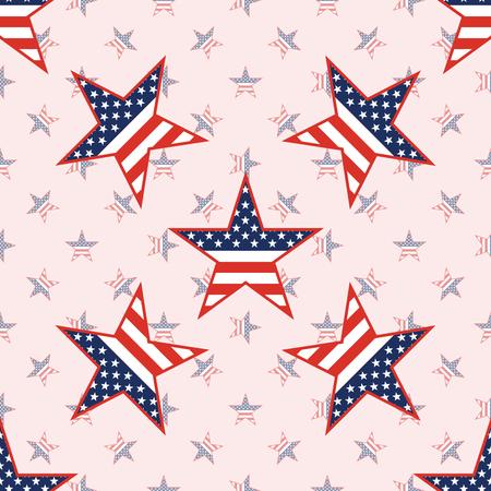 US patriotic stars seamless pattern on national stars background. American patriotic wallpaper with US patriotic stars. Scalable pattern vector illustration. Illustration