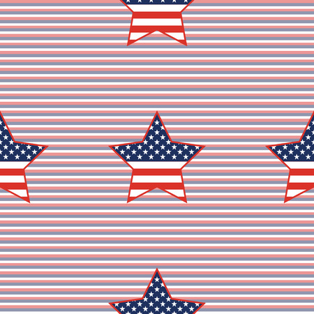 USA patriotic stars seamless pattern on red and blue diagonal stripes background. American patriotic wallpaper with USA patriotic stars. Ornament pattern vector illustration.