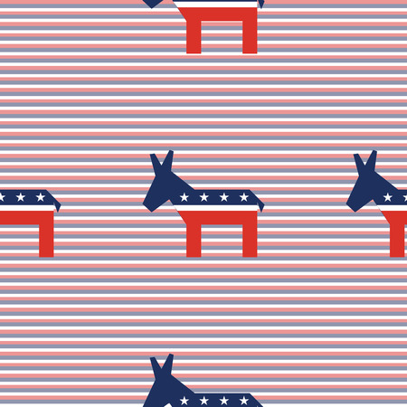 Broken donkeys seamless pattern on red and blue diagonal stripes background. USA presidential elections patriotic wallpaper. Ornament pattern vector illustration.