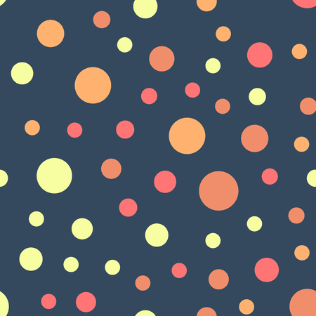Colorful polka dots seamless pattern on bright 21 background. Good-looking classic colorful polka dots textile pattern. Seamless scattered confetti fall chaotic decor. Abstract vector illustration.