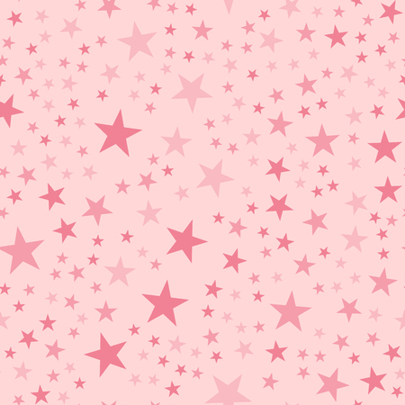ピンクの星は、薄いピンクの背景にシームレスなパターン。妖艶な無限のランダム散乱ピンクの星のお祝いのパターン。モダンな創造的なカオスな装飾。ベクター抽象イラスト。