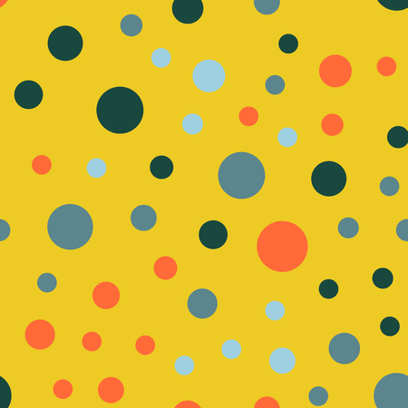 Colorful polka dots seamless pattern on bright 26 background. Terrific classic colorful polka dots textile pattern. Seamless scattered confetti fall chaotic decor. Abstract vector illustration.