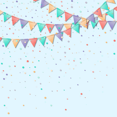 Bunting flags. Lovely celebration card. Colorful holiday decorations and confetti. Bunting flags vector illustration. Ilustração