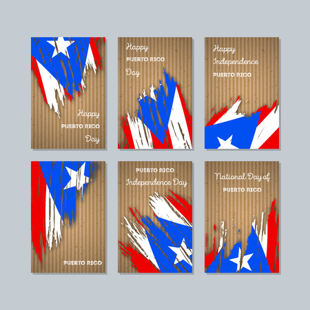Puerto Rico Patriotic Cards for National Day. Expressive Brush Stroke in National Flag Colors on kraft paper background. Puerto Rico Patriotic Vector Greeting Card.