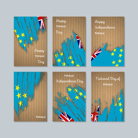 Tuvalu Patriotic Cards for National Day. Expressive Brush Stroke in National Flag Colors on kraft paper background. Tuvalu Patriotic Vector Greeting Card.