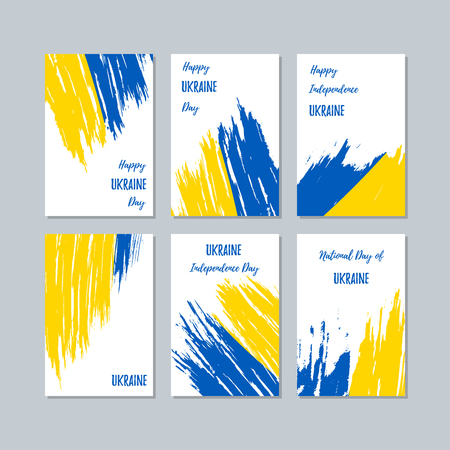 Ukraine Patriotic Cards for National Day. Expressive Brush Stroke in National Flag Colors on white card background. Ukraine Patriotic Vector Greeting Card.