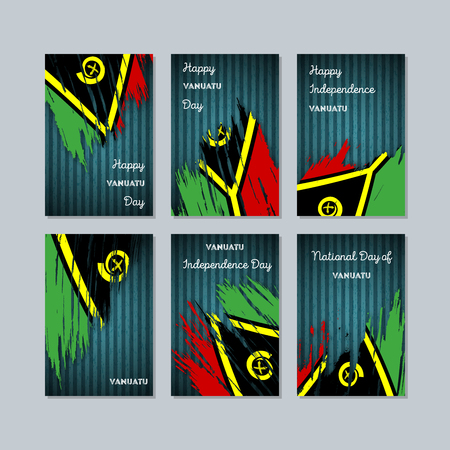 Vanuatu Patriotic Cards for National Day. Expressive Brush Stroke in National Flag Colors on dark striped background. Vanuatu Patriotic Vector Greeting Card.