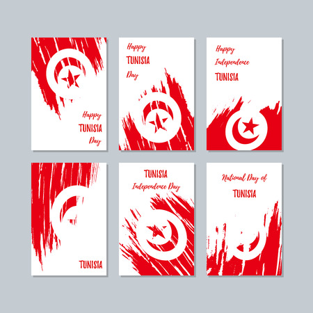 Tunisia Patriotic Cards for National Day. Expressive Brush Stroke in National Flag Colors on white card background. Tunisia Patriotic Vector Greeting Card.