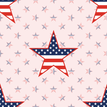 US patriotic stars seamless pattern on national stars background. American patriotic wallpaper with US patriotic stars. Surface pattern vector illustration.