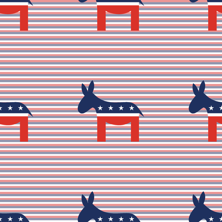 Democrat donkeys seamless pattern on red and blue diagonal stripes background. USA presidential elections patriotic wallpaper with democrat donkeys. Tillable pattern vector illustration. Illustration