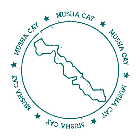 Musha Cay vector map. Distressed travel stamp with text wrapped around a circle and stars. Island sticker vector illustration.