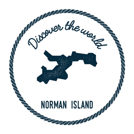 Norman Island map in vintage discover the world insignia. Hipster style nautical postage stamp, with round rope border. Vector illustration. Illustration