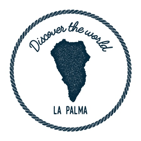 La Palma map in vintage discover the world insignia. Hipster style nautical postage stamp, with round rope border. Vector illustration.