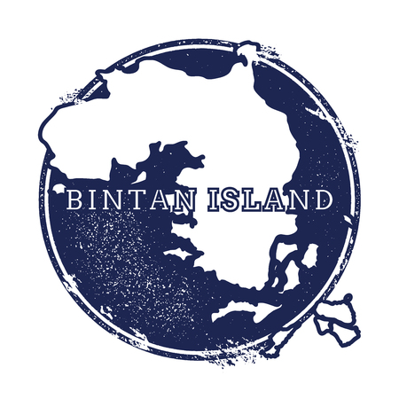 Bintan Island vector map. Grunge rubber stamp with the name and map of island, vector illustration. Can be used as insignia, logotype, label, sticker or badge.