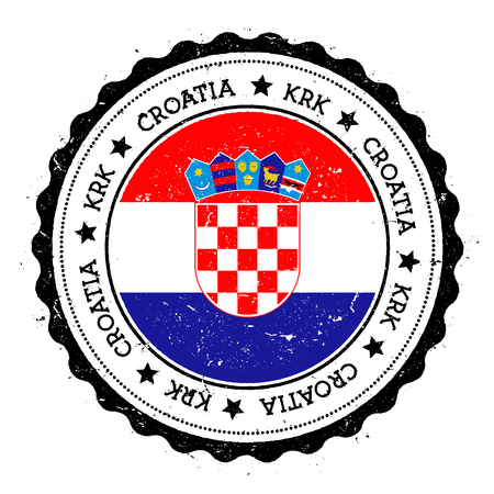 Krk flag badge. Vintage travel stamp with circular text, stars and island flag inside it. Vector illustration.