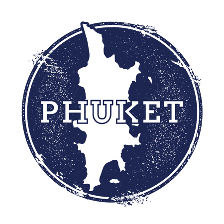Phuket vector map. Grunge rubber stamp with the name and map of island, vector illustration. 向量圖像