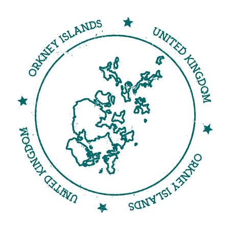 Orkney Islands vector map. Distressed travel stamp with text wrapped around a circle and stars. Island sticker vector illustration.