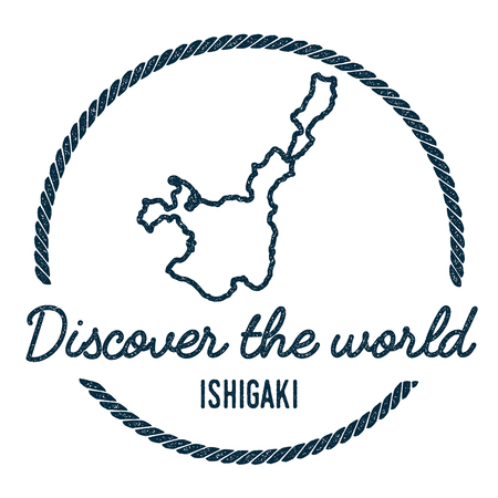 Ishigaki Map Outline. Vintage Discover the World Rubber Stamp with Island Map. Hipster Style Nautical Insignia, with Round Rope Border. Travel Vector Illustration.