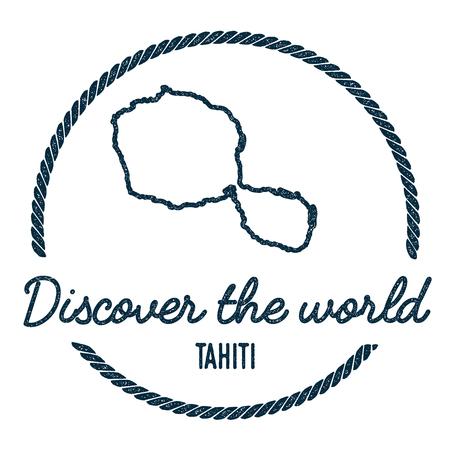 Carte de Tahiti. Vintage Découvrez le timbre en caoutchouc du monde avec la carte de l'île. Insigne nautique de style hipster, avec bordure en corde ronde. Illustration vectorielle de voyage.