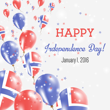Bouvet Island Independence Day Greeting Card. Flying Balloons in Bouvet Island National Colors. Happy Independence Day Bouvet Island Vector Illustration.