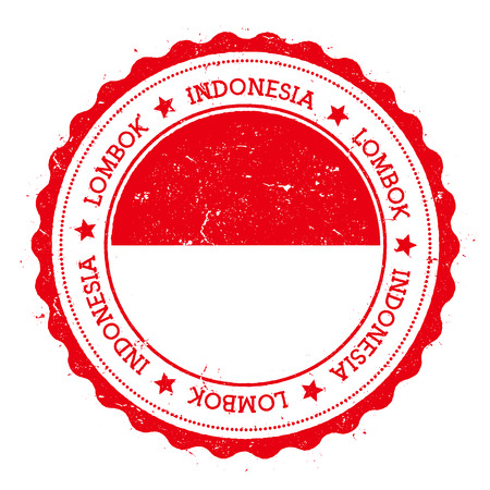 Lombok flag badge. Vintage travel stamp with circular text, stars and island flag inside it. Vector illustration.