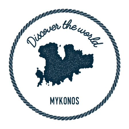 Mykonos map in vintage discover the world insignia. Hipster style nautical postage stamp, with round rope border. Vector illustration.