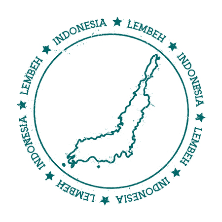 Lembeh vector map. Distressed travel stamp with text wrapped around a circle and stars. Island sticker vector illustration.