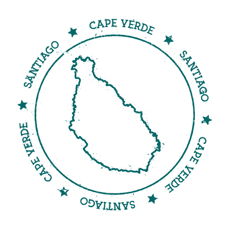 Santiago Island vector map. Distressed travel stamp with text wrapped around a circle and stars. Island sticker vector illustration. Vettoriali