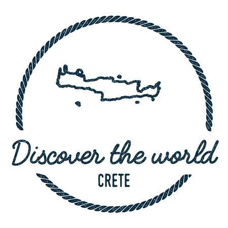 Crete Map Outline. Vintage Discover the World Rubber Stamp with Island Map. Hipster Style Nautical Insignia, with Round Rope Border. Travel Vector Illustration.