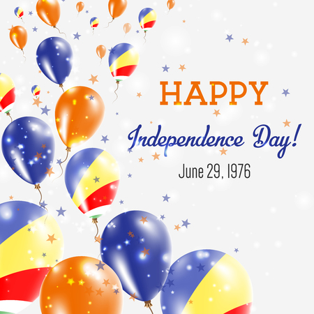 Seychelles Independence Day Greeting Card. Flying Balloons in Seychelles National Colors. Happy Independence Day Seychelles Vector Illustration.