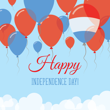 Luxembourg Independence Day Flat Greeting Card. Flying Rubber Balloons in Colors of the Luxembourger Flag. Happy National Day Vector Illustration.