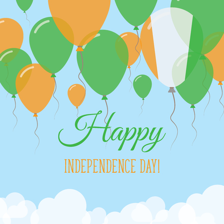 Cote D'Ivoire Independence Day Flat Greeting Card. Flying Rubber Balloons in Colors of the Ivorian Flag. Happy National Day Vector Illustration.