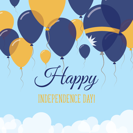 Nauru Independence Day Flat Greeting Card. Flying Rubber Balloons in Colors of the Nauruan Flag. Happy National Day Vector Illustration.