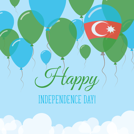 Azerbaijan Independence Day Flat Greeting Card. Flying Rubber Balloons in Colors of the Azerbaijani Flag. Happy National Day Vector Illustration. Çizim
