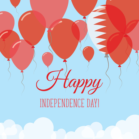 Bahrain Independence Day Flat Greeting Card. Flying Rubber Balloons in Colors of the Bahraini Flag. Happy National Day Vector Illustration.